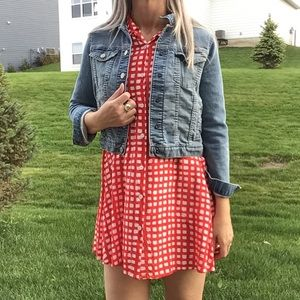 11 1 TYLHO anthropologie check rayon dress S M